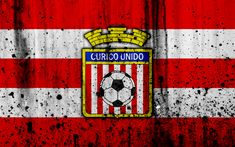 Download wallpapers 4k, FC Curico Unido, art, grunge, Chilean Primera Division, soccer, football club, Chile, Curico Unido, logo, stone texture, Curico Unido FC