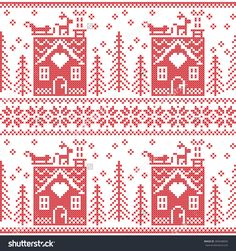 Scandinavian Nordic Christmas seamless  pattern with gingerbread house, snow, reindeer, Santa's  sleigh, trees, star, snow, Xmas gift, snowflakes in red cross stitch