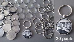 Round 30mm Antique Silver Photo Keychain Supplies Pack Makes 20