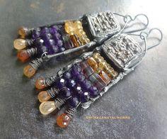 Ethiopian copper Telsum amulets amethyst citrine garnet and tourmaline metalwork beaded earrings