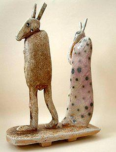 "Meri Wells 1. Two Figures, 2002 (12.5"" x 9"")"