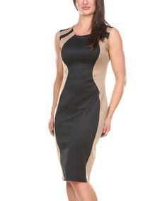 Love this Black & Khaki Shoulder-Stripe Sheath Dress by Stanzino on #zulily! #zulilyfinds