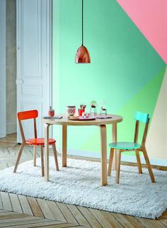 ensemble table et chaise de cuisine en bois but chaises louisa corail et bleu