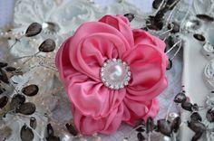 Pink Satin Flowers  3 Satin Pearl Fabric by ThePerfectDesign