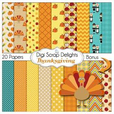 Thanksgiving Digital Papers w Turkey, Pilgrim, Pumpkin, for Digital Scrapbooking, Fall Cards, Crafts, Orange, Yellow, Teal Instant Download by DigiScrapDelights on Etsy https://www.etsy.com/uk/listing/114740181/thanksgiving-digital-papers-w-turkey