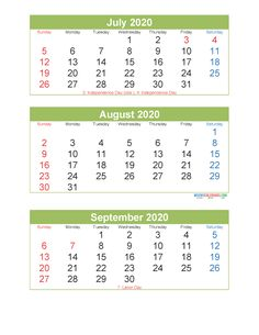 3 Month Calendar 2020 Printable July August September Printable – Free Printable 2020 Monthly Calendar with Holidays 3 Month Calendar, Printable Calendar 2020, September Calendar, Calendar Templates, Time Management Techniques, To Do Checklist, Sunday Monday Tuesday, Feeling Lost
