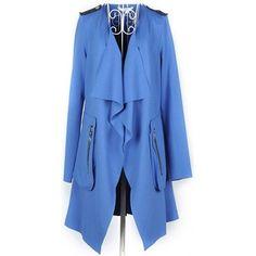 Blue Long Sleeve Ladies Asymmetry Cotton Coat M/L @FZ9565bl $19.99... ($20) via Polyvore