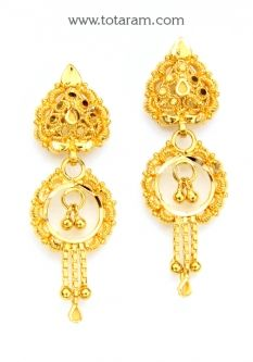 Buy 22K Gold Drop Earrings - GER6797 with a list price of $273.99 - 22K Indian Gold Jewelry from Totaram Jewelers