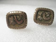 Vintage early 1900's 10kt GF.  Art Deco Good Luck Cuff Links, Horseshoe & Clover #pictographofahorseshoeandclover