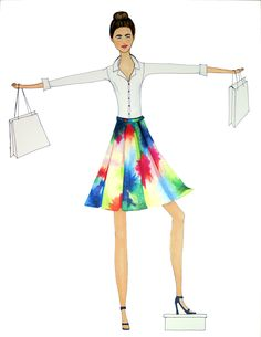 shopping style, fashion illustration, more is more, design, wall art, prints, floral skirt, pleated skirt, strappy heels, what to wear, summer office outfit, business casual, top knot ©Sara Creef www.saracreef.com