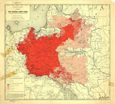Map of Poles in Central and Eastern Europe according to the 1916 German census.[[MORE]]Purple line represents the 1772 borders of Poland.Subsequent shades of red represent, from top to bottom:Polish majority or plurality Polish population over 30% Polish population between 20% and 30% Polish population over 5% Link to the map in higher resolution.