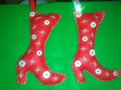 Felt and buttons Christmas stocking