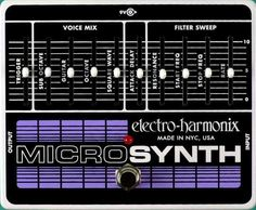 ELECTRO HARMONIX MICRO SYNTHESIZER Analog synth for guitar From the classic vintage sounds of the great early Moog synthesizer to wild custom creations, the Micro Synthesizer for Guitar lets the player create those fat analog synthesizer sounds hear Online Guitar Lessons, Drum Lessons, Guitar Effects Pedals, Guitar Pedals, Moog Synthesizer, The Chemical Brothers, Analog Synth, Cable Drum, Instruments