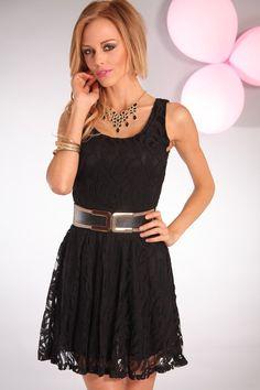 66810cace3 Black lace scoop neck sleeveless skater dress. Cute Skater Dresses