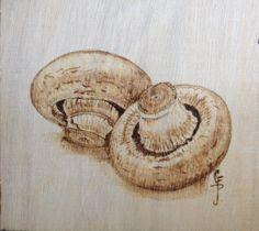 Mushrooms pyrography