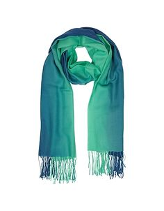 Gradient Blue/Green Wool and Cashmere Fringed Stole #DesignerHandbags #DesignerShoes