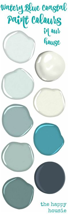 Watery Blue Coastal Paint colors from The Happy Housie