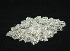 """AURORA/CLEAR - 3.5"""" Rhombus Style embroidery beaded rhinestone crystals applique motif crafts"""