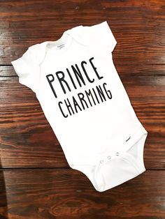 Baby Shower Gift Prince Charming Disney Baby by YoungLoveCreations Disney Baby Clothes, Cute Baby Clothes, Baby Disney, Boy Onesie, Baby Bodysuit, Onesies, Toddler Outfits, Baby Boy Outfits, Cute Babies