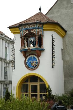 Clock tower at 9 Kossuth St. - medieval architecture in Székesfehérvár, Hungary -- [3rd of three pins