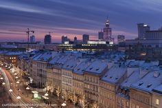 Winter sunset in Warsaw, Poland Winter Sunset, Warsaw Poland, Cityscapes, Paris Skyline, Germany, Travel, Viajes, Deutsch, Destinations