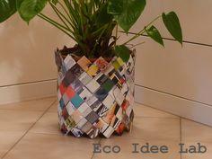 Eco Idee Lab - Riciclo creativo dei materiali : Coprivaso in carta di riviste, riciclata e intrecciata