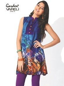Buy Blue Bliss Printed Cotton Kurti at Rs.957  Be spring ready with this colourful abstract and animal prints on a blue ground that bestows a lively tone to the kurti. This sleeveless cotton kurti has a chinese collar and shoulder pleats.This kurti does not have side slits. Team it up with skinny jeans or leggings to create the perfect look.  #printedcottonkurti #bluecottonkurti