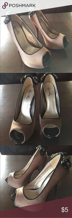 Taupe Matte Satin Taupe/Black Lace Bow Heels Absolutely Gorgeous Heels Qupid Shoes Heels