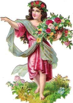 Oblaten Glanzbild scrap die cut chromo Blumen Kind flower child Schleier