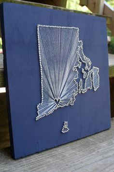 Rhode Island Love // Reclaimed Wood Nail and String Art Tribute To The Ocean State