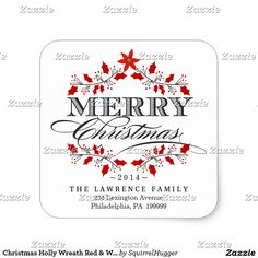 Christmas Holly Wreath Red & White Square Stickers
