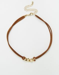 Chain Link Suede Choker Necklace