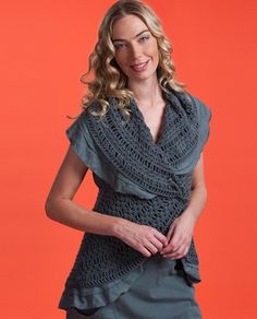 """Pure & Co. 4038 Earth Cocoon Sweater    earth cocoon  style # 4038  details  Crocheted cocoon with tiered slub layers. A unique and stylish update for your summer wardrobe. (S/M) HPS Length: 25"""". Group 3, crochet.(available in woman sizes 2004038)  sizes  xs/s. s/m. m/l. l/xl.  colors  2013 spring / summer colors  fabric & care  100% cotton; handwash; block to dry; or dry clean  season spring / summer 2013      Price: $104.00"""