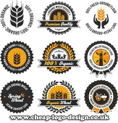 organic wheat label set with differently varied modern, vintage elements, no transparencies, ideal for prints Cheap Logo, Web Design, Graphic Design, Unique Logo, Product Label, Stationery Design, Visual Identity, Banner, Branding