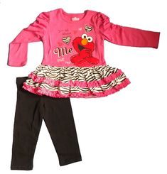 Sesame St Toddler Girls' 2pc Pullover and Pant Set, Pink, 4T. Elmo screen-print with glitter. Super cute. Great value.