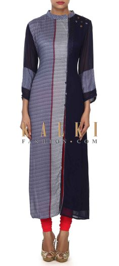 Buy this Feautring navy blue printed kurti only on Kalki