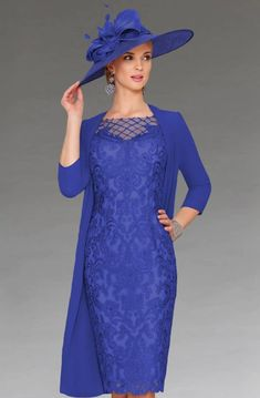 This short fitted dress features an illusion neckline with three quarter length sleeves. The dress also comes with a matching chiffon coat. Mother Of Bride Outfits, Mother Of Groom Dresses, Bride Groom Dress, Mother Of The Bride, Bride Dresses, Short Fitted Dress, Evening Dresses, Formal Dresses, Formal Wear