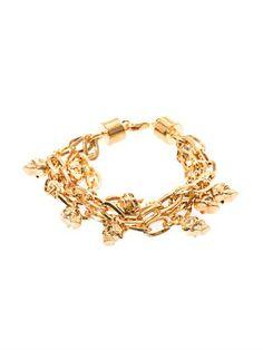 Alexander McQueen Multi-strand skull charm bracelet Alexander Mcqueen, Jewlery, Women Wear, Skull, Charmed, My Style, Bracelets, Gold, Forget