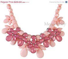 Pink Bubble Necklace Drop Shape Necklace Statement by MegJewelry4U, $26.10