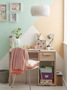 Colour-blocking is a great way to add interest to a child's room, without splashing out on expensive wallpaper designs. For a calming look, choose soft, toning shades; for a bolder scheme, pick out primaries or shocking contrasts. Paint Color Schemes, Room Paint Colors, Bedroom Colors, Room Paint Designs, Bedroom Paint Design, Designer Wallpaper, Wallpaper Designs, Wallpaper Ideas, Bedroom Wall