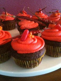 Chocolate cupcakes with hot sauce frosting, hot tamale candy and dried peppers on top! (My Grandpa had it and liked it.)