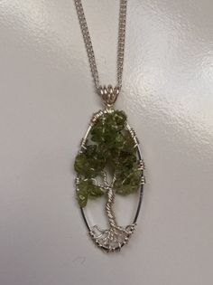 Tree Of Life Necklace Green Peridot Pendant On by Just4FunDesign, $30.00