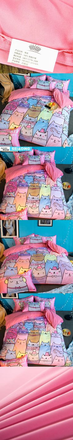 Pink Cartoon Cat Bedding Sets Twin Queen Full King Size 3d Duvet Cover Bedspread with Pillowcase Kid Teen Girl Bedroom Textile