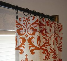 """Pair of TWO 25"""" Damask Curtains Custom Drapes Panels Traditions Sweet Potato & Natural 63 84 96 108 120 doing the living room a light neutral-ish green and leaving the burnt orange accent wall behind the tv. these curtains would be perfect to pull in the accent wall. love them better than the other ones i pinned"""