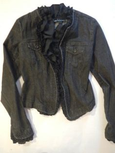 INC Denim Jacket Black Ruffle Unique Stretch M Jean Coat Stylish Light  #INC #JeanJacket