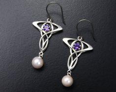 Art Nouveau earrings, silver earrings with amethyst and akoya pearl