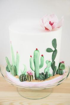 "Cactus cake from a ""Desert Love"" Cactus Themed Birthday Party on Kara's Party Ideas 