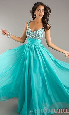 Full Length Beaded Chiffon Gown at PromGirl.com