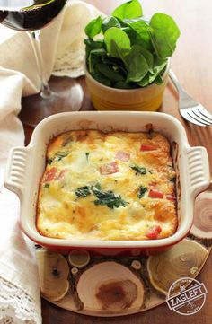 Creamy, low-carb Crustless Spinach Quiche for One made with salty ham and Swiss cheese. Full of flavor, you'll never even miss the crust! | onedishkitchen.com