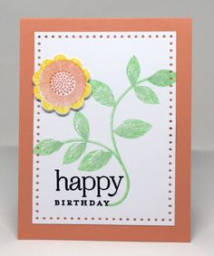 https://flic.kr/p/Fe7xMA | Papertrey March Blog Hop Challenge | Inspired by the yellow flower in the second photo. All supplies from Papertrey Ink Cardstock: Stampers Select White, Melon Berry Ink: Bright Buttercup, Melon Berry, Mint Julep, Vintage Jadeite, True Black Stamps: Embroidered Blooms Dies: Beautiful Blooms II, Stitched Rectangles